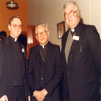 Cardinal Castillo-Lara attended the 1986 Conference of the Society in Dublin.  Pictured here on his right is Father Gordon Read; and on his left Father Donal Kelly.