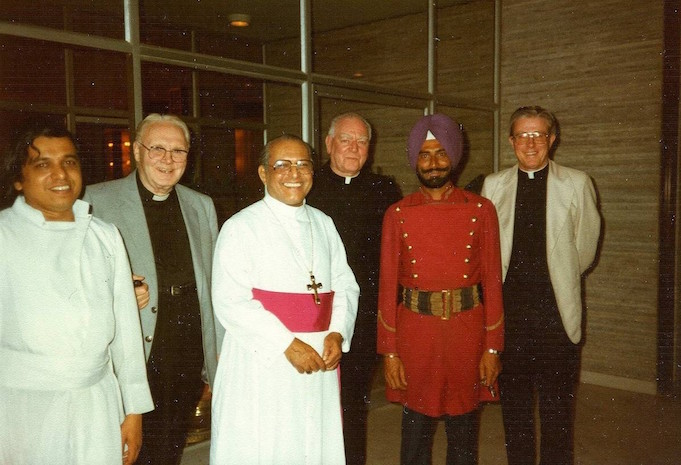 Following the publication of the Code in January 1983, discussions took place between the CLS and the CLSANZ about the next step. Monsignors Brown and Sheehy flew to Bombay to meet with Father Frank Harman (second from left) and Father Geoffrey Robinson (far right) in February 1983. Also pictured here is Archbishop (later Cardinal) Pimenta of Bombay with Mgr. Sheehy on his left.